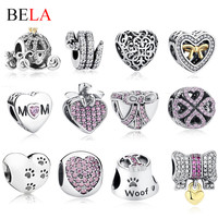 18 Styles Authentic 925 Sterling Silver European Heart,Bow Knot,Tree Charms Beads Fit Pandora Bracelet Pendant Original Jewelry