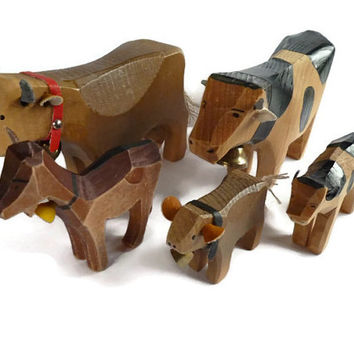Hand Carved Farm Animals . Wooden Cows . Wood Goat . Vintage Toy . Folk Art Country Animal Collectibles .
