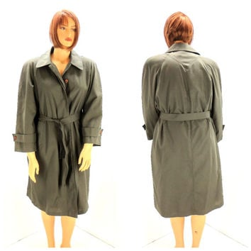 Vintage made in USA army green trench coat, size L, 70s dark green trench coat, wool lined 1970s rain coat olive green, SunnyBohoVintage