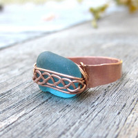 Braided Beach Glass Ring in Sky Blue