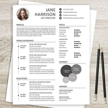 Resume and Cover Letter Template - Resume Template for Word - CV - Resume Template for Photoshop