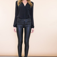 Denn Zippered Skinny Leather Pant - Black