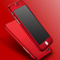 New Hybrid PC Hard Dropproof Metal Feeling Case 360 Full Body Cover+Tempered Glass For Capinhas iPhone 6 6s 7 plus iPhone6 Cases -JMJewelry