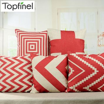 Chevron Red Vintage Throw Pillow Case Square Cushion Cover Home Décor 17x17