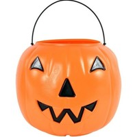 ORANGE PUMPKIN CANDY TRICK TREAT PAIL BUCKET HOLIDAY HALLOWEEN CANDY- FREE SHIP