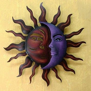 Sun Moon Wall Decor Art Gallery Metal Hanging Sculpture Home Accent Handmade