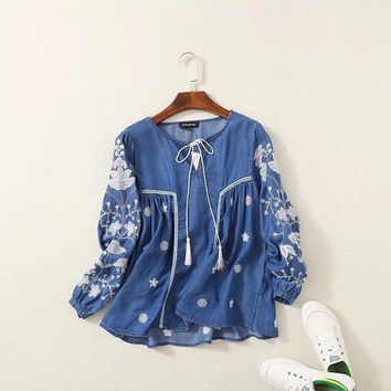 Women Ethnic Blouse Shirt Embroidery Long Sleeve Tencel Denim Cotton Shirts Pullover Jeans Tunic Vintage Tops Female Clothing