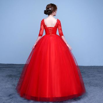 Ball Gown Lace Tulle Red Half Wedding Dress Sequined Pattern Style   Embroidery Bridal Dress