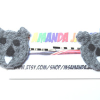 Koala hair pins/ Crochet bobby pins/ Gray hair accessory.