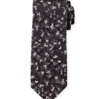 Textured Mini Camo-Print Silk Tie, Charcoal, Size: 2, grey - Burberry