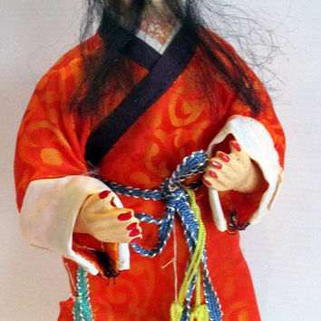 Vintage Doll Figure Chinese Mandarin Kung Fu, Antique old  childrens toy  doll collectible,  unique gift under 20