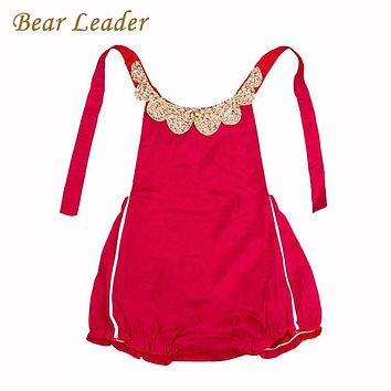 Bear Leader Baby Rompers 2017 New Summer Style Cotton Pearl Collar Red Baby Girls Clothing Set  60- 95cm Party Kids Jumpsuit