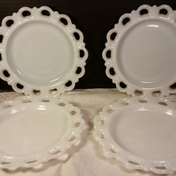 Anchor Hocking Old Colony Westmoreland Open Lace Edge Milk White Open Lace Sandwich Plates Set of Four White Milk Glass Lace Edge Plates