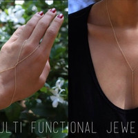 Double wrap Bracelet Hand chain // Y lariat necklace-Multi functional Jewelry