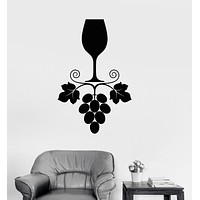 Vinyl Wall Decal Wine Grapes Glass Kitchen Restaurant Drink Bar Stickers Unique Gift (ig3296)