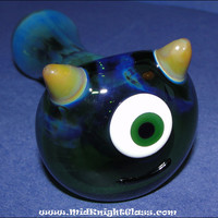 Mike From Monsters Inc. Spoon Style Glass Pipe Smoking Bowl Hand Blown by Jason Knight of MidKnightGlass