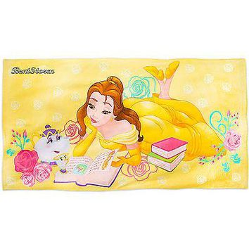 Licensed cool Disney Store Beauty & Beast Princess Belle Potts Chip Book BEACH TOWEL 30x60 NEW