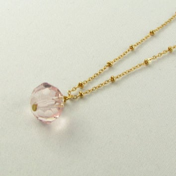 Pink Crystal Necklace/14K Gold Necklace/ Long Necklace / Rosary Inspired Necklace
