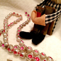 Vintage Pink and Red Mercury Glass Double Indent Beaded Garland 50s