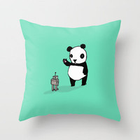 Little Panda and Robot Throw Pillow by Dale Keys | Society6