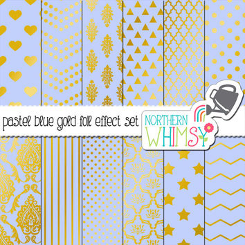 Pastel Blue and Gold Digital Paper Pack – gold foil effect papers for scrapbooking, invitations, web backgrounds – instant download – CU OK