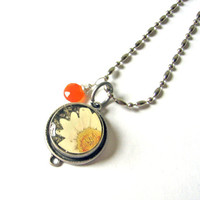 Tangerine Carnelian and Rustic Silver Daisy by SovereignSea