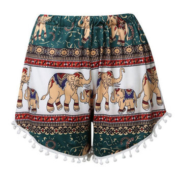 Women Elephant Pattern Printed High Waist Beach Shorts with Tassels