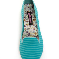 Dollhouse Teenz Turquoise Striped Smoking Slipper Flats
