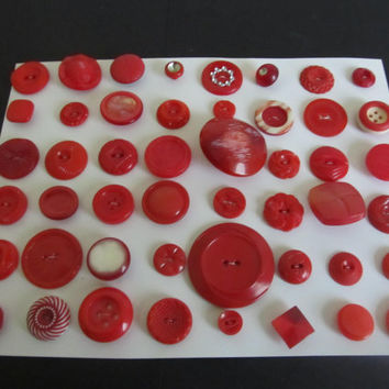 48 Vintage Shabby Chic Modern Unique Different Shades of Red Plastic Sewing Buttons