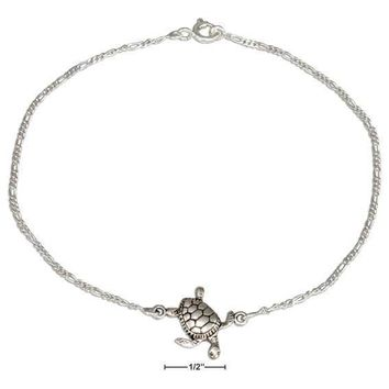 "STERLING SILVER 9"" SEA TURTLE ANKLE BRACELET ANKLET"