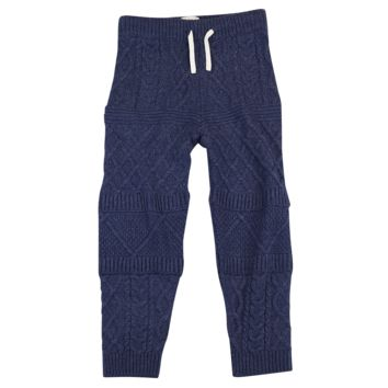 Mixed Knit Pants - Navy