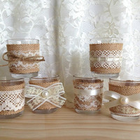 6 ivory burlap and lace covered 10 hour tea Votive candles, bridal shower decor, wedding decoration, home decor or gift