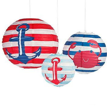 Nautical Anchor Party Paper Lantern| Sailor Theme Party Decor| Anchor Lantern Hanging Decorations | Nautical Party supplies