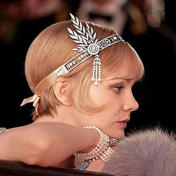 Retail Wedding Set Bridal Great Gatsby Charleston 1920s Vintage Pearls Lace Up Pearl Crown Head Hair Jewelry Dress Band