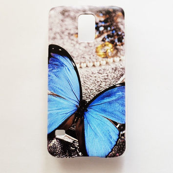 Samsung Galaxy S5 Blue Butterfly Hard Plastic Romantic Galaxy S5 Back Cover Cute Vintage Samsung S5 Cover