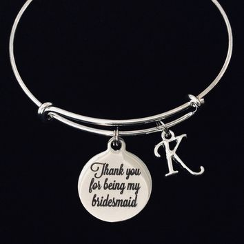 Thank You For Being My Bridesmaid Adjustable Bracelet Expandable Silver Wire Bangle Wedding Shower Bridal Trendy Proposal One Size Fits All Gift