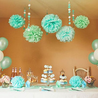 Mint POM POM 5pcs 20cm Tissue Paper Pom Poms Flower Balls Party Wedding Home Birthday Tea Party Decorations