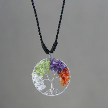 Four seasons tree of life branch wiring pendant necklace Free US Shipping handmade Anni Designs