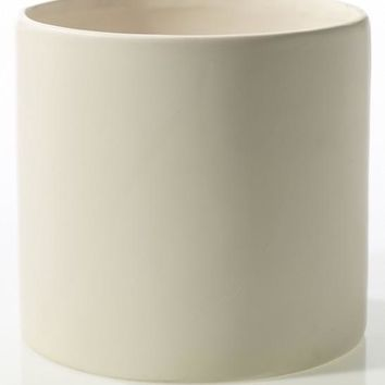 "Matte White Cercle Ceramic Cylinder Flower Pot - 6.25"" Tall x 6.5"" Wide"