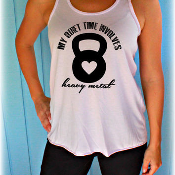 Flowy Kettlebell Fitness Tank Top. My Quiet Time Involves Heavy Metal. Motivational Workout Tank Top. Cute Workout Clothes. Funny Quote Top.