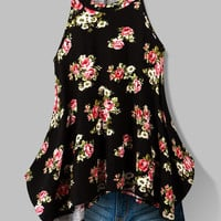 Floral Print Romantic Top - Black
