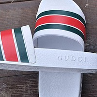 Gucci Trending Woman Men Red Green Stripe Sandals Slipper Shoes White I