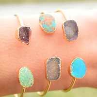 Druzy and Turquoise Cuff: Galaxy
