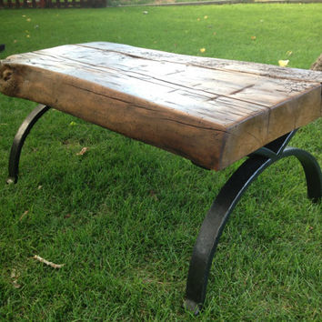 Coffee Table with hand forged base and repurposed wood top