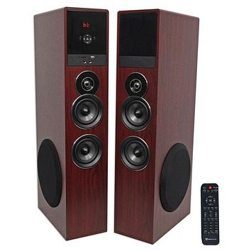 "Rockville TM80C Cherry Powered Home Theater Tower Speakers 8"" Sub/Bluetooth/"