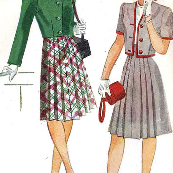 "1940s Misses or Large Teen Bolero and Skirt School Girl Chic Vintage Sewing Pattern, Simplicity 1107 bust 32"" uncut"