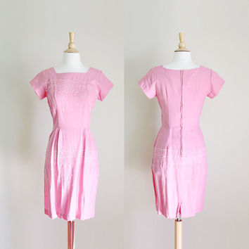1960s Pink Embroidered Wiggle Dress // Small