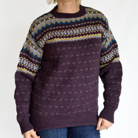 80s Vintage Wool Sweater / Purple / Cambridge Dry Goods Company