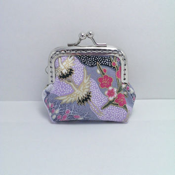Japanese coin purse, Dance of cranes, Gray