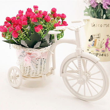 High Quality rattan vase + flowers meters spring scenery rose artificial flower set home decoration Birthday Gift